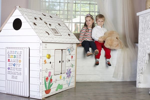 Картонный дом-раскраска